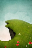 Green cliff. Fantasy illustration or background with  large green  cliff. Computer graphics Royalty Free Stock Photos