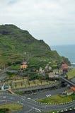 Green cliff in Porto Moniz stock photo