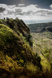 Green Cliff. Cliff side overlooking a forest below Stock Image