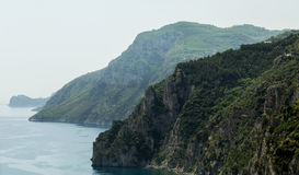 Green Cliffs Along the Amalfi Coast Stock Image