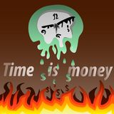 The wall clock melts under the flames. The green clock and hands are melting under fire and dropping downwards, which turn into money Stock Photography