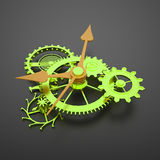 Green clock mechanism gears with orange arrows Royalty Free Stock Image