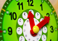 Green clock with red arrows Royalty Free Stock Photography