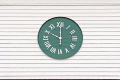 Green clock with roman numerals. Roman numeral clock with green face stock image