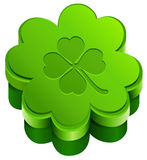 Green closed gift box shape of quatrefoil leaf clover. Lucky clover leaves Royalty Free Stock Photos