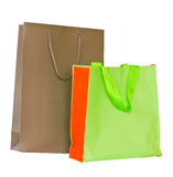 Green cloth bag and paper bag Brown Royalty Free Stock Photos