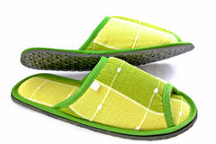 Green cloth slippers Stock Photography