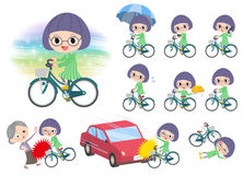 Green clothes Bobbed Glasses girl ride on city bicycle. Set of various poses of Green clothes Bobbed Glasses girl ride on city bicycle Royalty Free Stock Photo