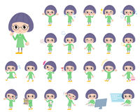 Green clothes Bobbed Glasses girl. Set of various poses of Green clothes Bobbed Glasses girl Stock Photo