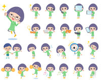 Green clothes Bobbed Glasses girl 2. Set of various poses of Green clothes Bobbed Glasses girl 2 Stock Photos