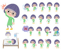 Green clothes Bobbed Glasses girl About the sickness Stock Photo