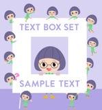 Green clothes Bobbed Glasses girl text box. Set of various poses of Green clothes Bobbed Glasses girl text box Royalty Free Stock Image