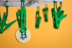 Green clothes peg hold one gold Bitcoin.  Royalty Free Stock Photo