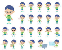 Green clothing glasses boy. Set of various poses of Green clothing glasses boy Stock Images