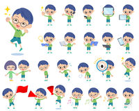 Green clothing glasses boy 2. Set of various poses of Green clothing glasses boy 2 Stock Images