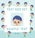 Green clothing glasses boy text box. Set of various poses of Green clothing glasses boy text box Royalty Free Stock Images