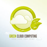 Green cloud computing badge for energy efficient technology Royalty Free Stock Photo