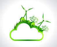 Green cloud hanging banner illustration design Royalty Free Stock Image