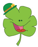 Green clover. Cheerful creen clover wearing a green hat stock illustration