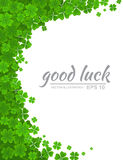 Green clover border, floral frame with realistic four-leaf clover isolated on white background. Ireland symbol. Saint Patricks Day vector background. Green Royalty Free Stock Photo