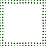Green clover border, frame isolated on white background. Ireland symbol pattern. Watercolor illustration. St. Patrick Day template. Illustration for luck spring stock illustration