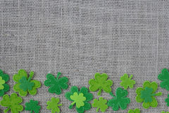 Green Clover on Burlap Background Stock Images