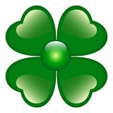 Green Clover with four leaves Stock Photo