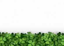 Green clover leaves at bottom Stock Photos