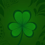 Green Clover Shamrock Happy St. Patrick`s Day. Traditional Irish hollyday template design. Royalty Free Stock Photos