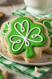 Green Clover St Patricks Day Cookies. Ready to Eat Stock Photo