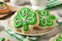 Green Clover St Patricks Day Cookies Stock Photo