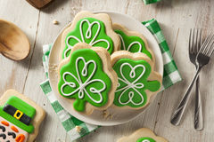 Green Clover St Patricks Day Cookies. Ready to Eat Royalty Free Stock Photography