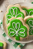 Green Clover St Patricks Day Cookies. Ready to Eat Stock Photography