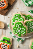 Green Clover St Patricks Day Cookies. Ready to Eat Royalty Free Stock Photos