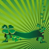 Green clovers. Abstract colorful illustration with green ribbon and green clovers. St. Patrick's Day theme Stock Image