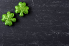 Green Clovers on Chalkboard Background Royalty Free Stock Image
