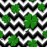 Green clovers with four leaves. St Patricks Day geometry seamless pattern stock illustration