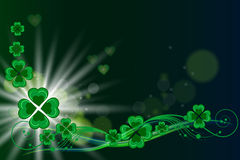 Green clovers love background. St patricks day vector card background Stock Photos