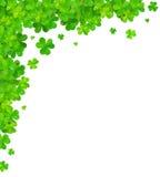 Green clovers vector corner frame element Royalty Free Stock Photo