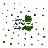 Green clovers on white, decoration for St Patricks day Stock Photos