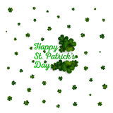 Green clovers on white, decoration for St Patricks day Royalty Free Stock Image
