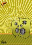Green club. High powered speakers on green grunge background Royalty Free Stock Images