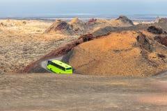 Green coach bus. Stock Photo