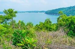 The green coast of Sri Lanka. The view over the trees on the slope of Rumassala Mount, overlooking the coast of Galle, Sri Lanka stock image
