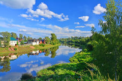Green coasts of Trertza river in the centre of Torzhok city, Russia Royalty Free Stock Photography