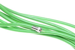 Green coaxial cable with connector Stock Photography