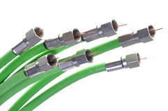 Green coaxial cables tv with connectors Stock Photography