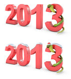 Green cobra 2013 new year symbol. On white background Royalty Free Stock Image