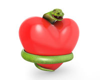 Green cobra on a red heart Royalty Free Stock Photos