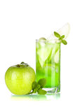 Green cocktail with apples and mint Royalty Free Stock Photo